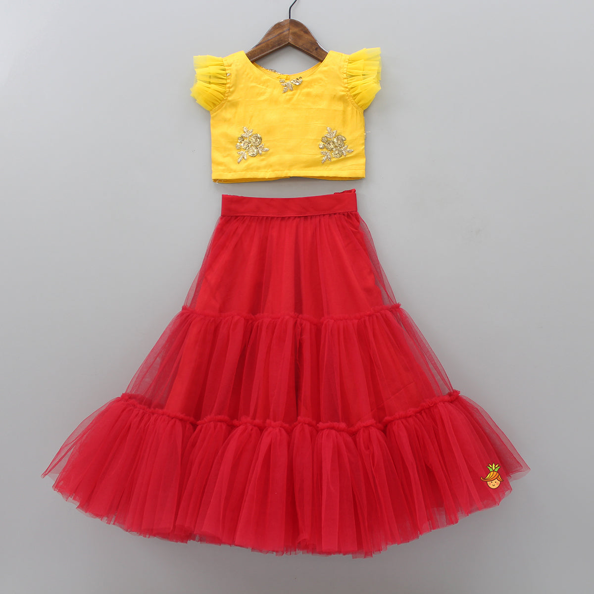 Pre Order: Yellow Top With Red Lehenga