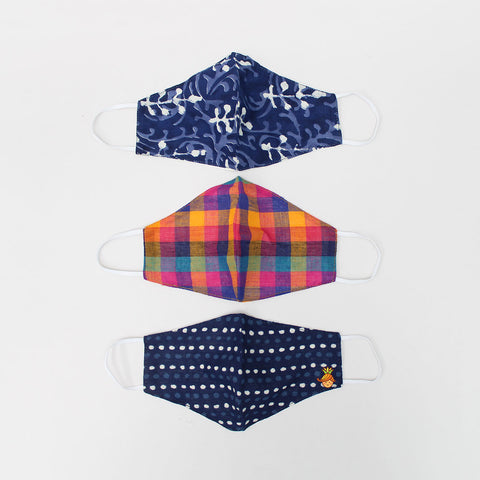 Checks And Prints Cotton Mask - Set Of 3