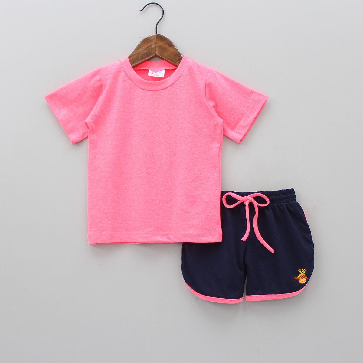 Neon Pink Top And Shorts Set
