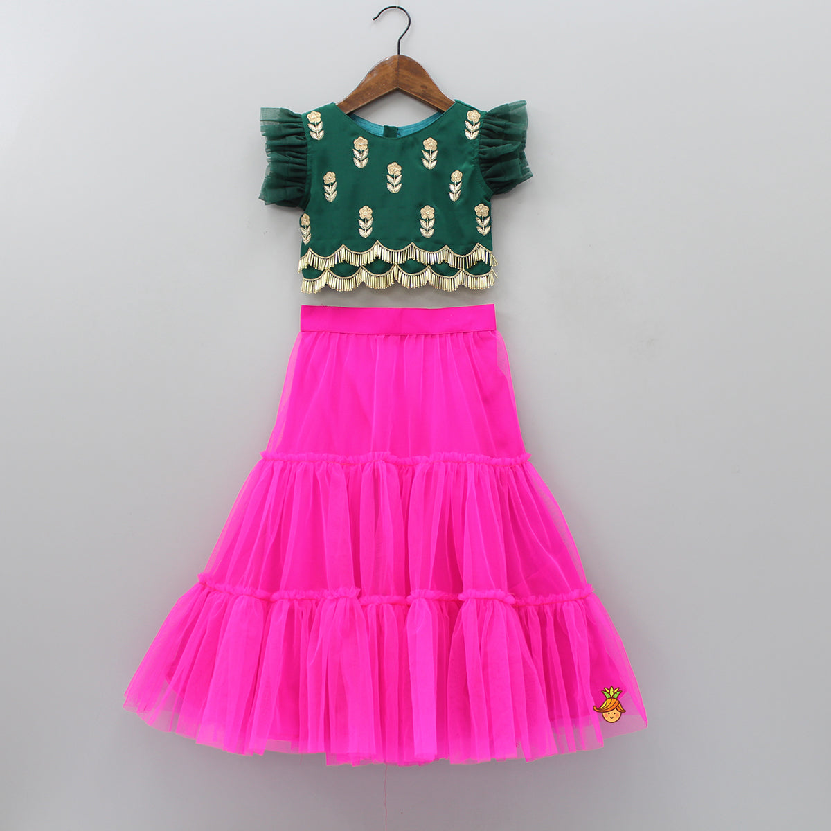 Pre Order: Olive Green Top With Hot Pink Lehenga