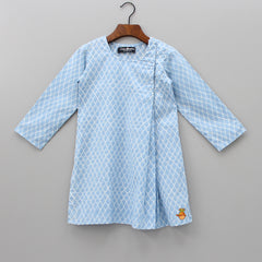 Pre Order: Light Blue Diamond Shape Print Kurta And Pyjama