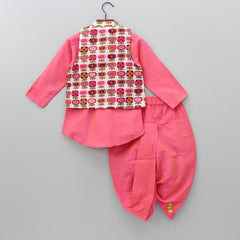 Peach Kurta Dhoti And Jacket With Mask