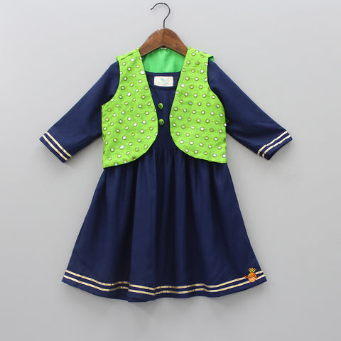 Blue Kurti With Green Mirror Work Jacket