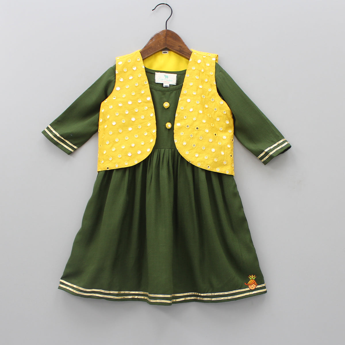 Olive Green Kurti With Yellow Mirror Work Jacket