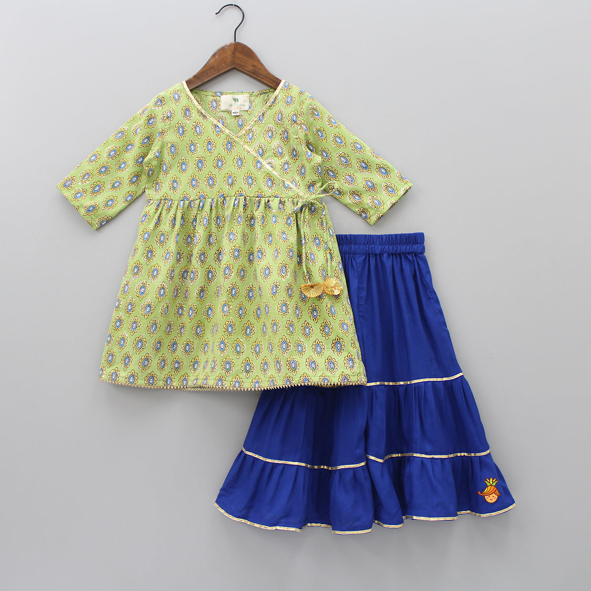 Printed Green Kurti with Blue Ghargra