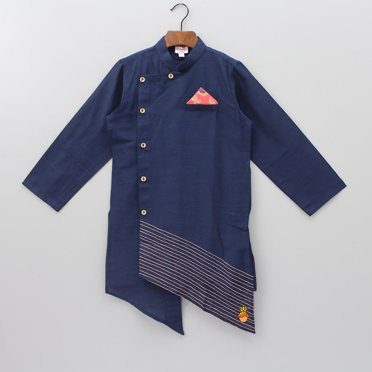 Navy Blue Kurta With Asymmetric Hem