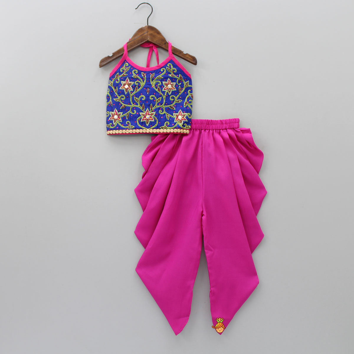 Floral Beaded Top With Dhoti