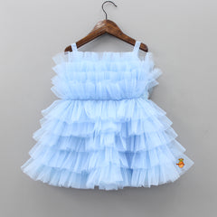 Pre Order: Ruffled Blue Dress With Fancy Belt