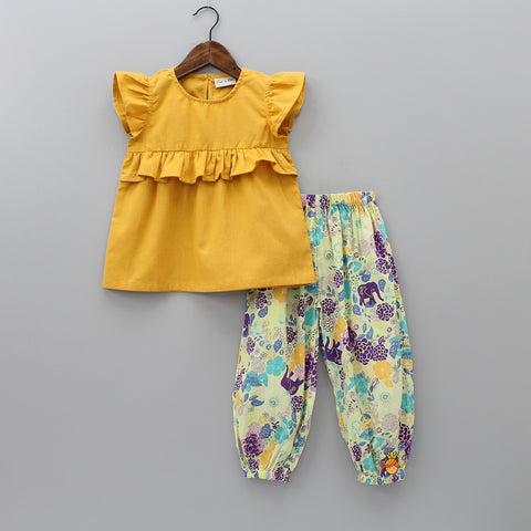 Yellow Top And Floral Printed Salwar