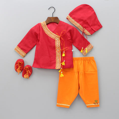 Pre Order: Organic Red And Orange Jamna Set