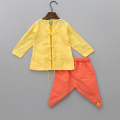 Pre Order: Organic Yellow Embroidered Jamna Set With Cap And Booties
