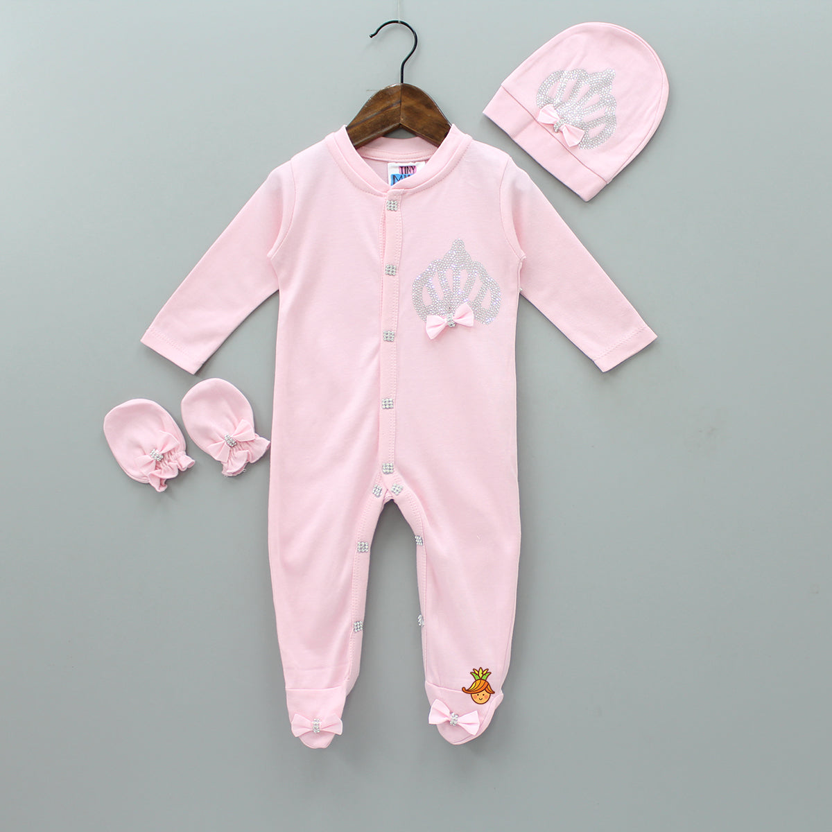 Pre Order: Rhinestone Work Pink Bodysuit With Cap And Mittens