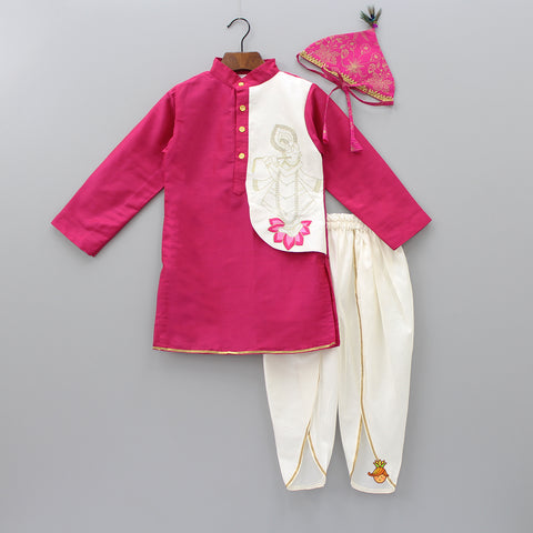 Pre Order: Hot Pink Embroidered Kurta With Dhoti Pants