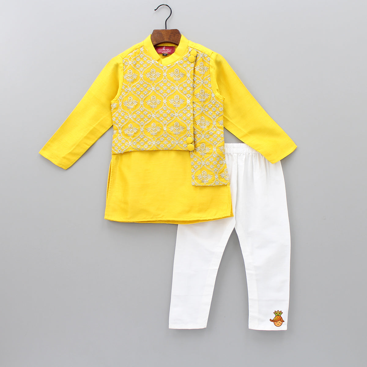 Pre Order: Embroidered Asymmetric Jacket Attached Kurta And Pyjama