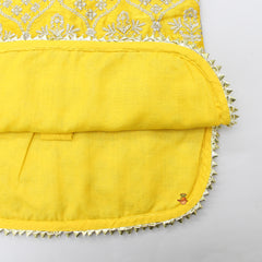 Pre Order: Yellow Embroidered Kurta With Sharara  And Net Dupatta