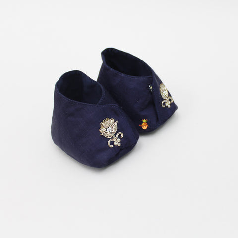 Pre Order: Navy Blue With Floral Zari Work Booties