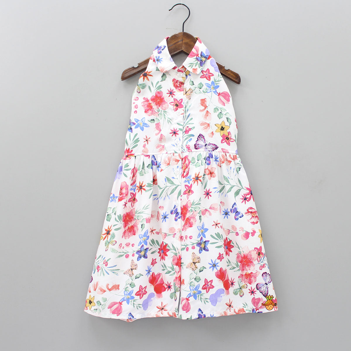 Butterfly And Floral Print Halterneck Dress