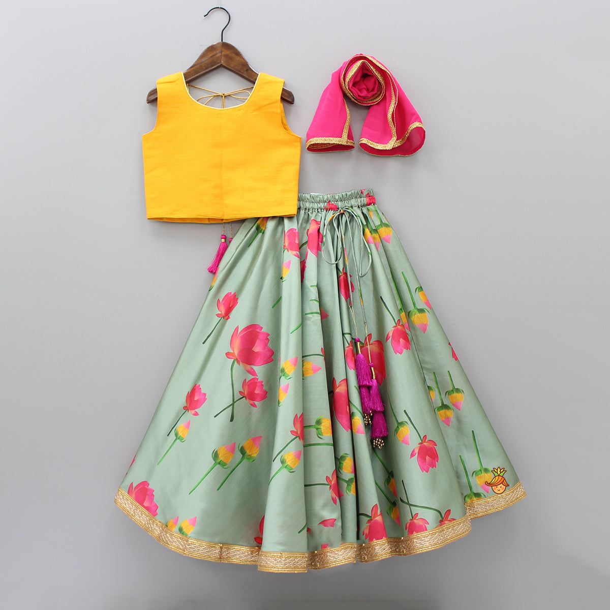 Floral Print Lehenga And Top With Dupatta