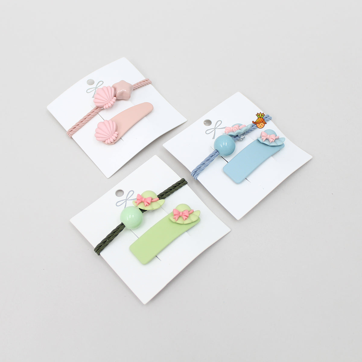 Cute 3 Hair Tie And 3 Hair Clip Set - 4