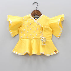 Pre Order: Yellow Peplum Top With Tulip Pant