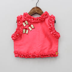 Pre Order: Butterfly Sequin Patch Top With Palazzo