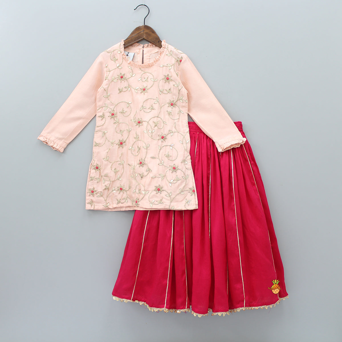 Pre Order: Embroidered Kurta With Ghagra
