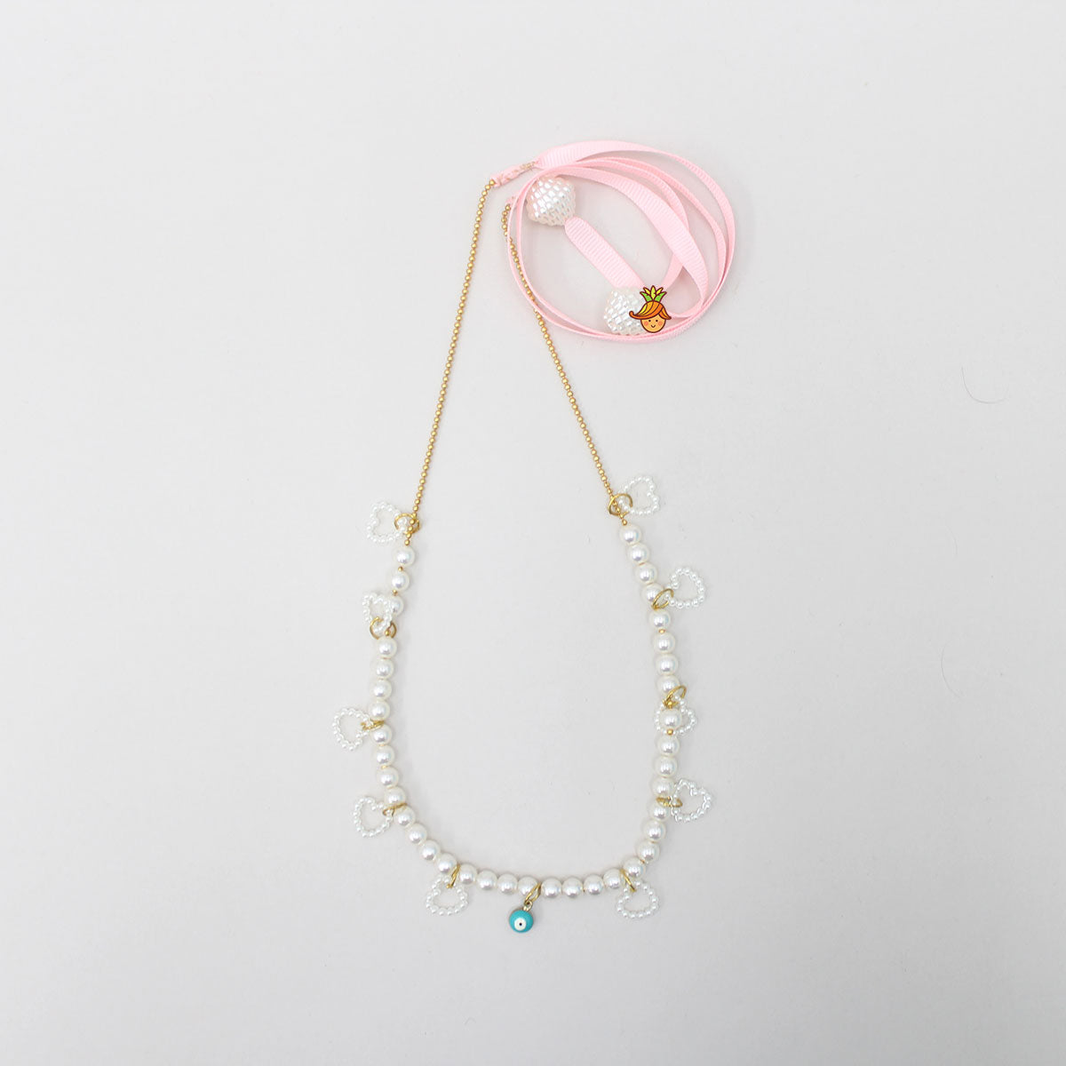 Evil Eye Pearl Necklace With Pink Strap