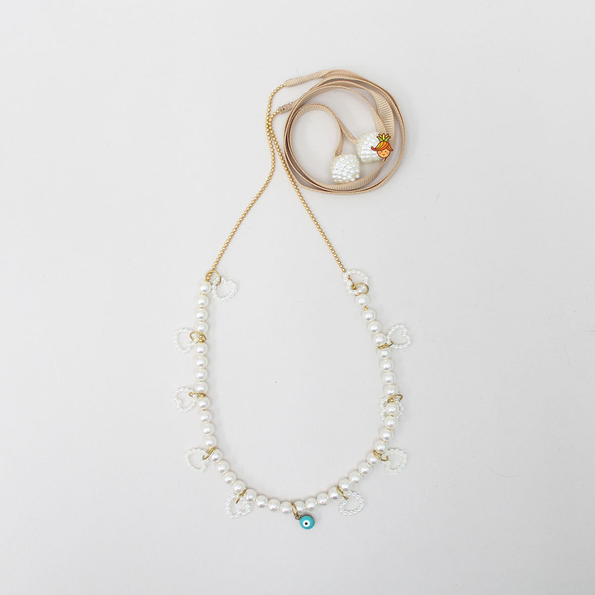 Evil Eye Pearl Necklace With Brown Strap