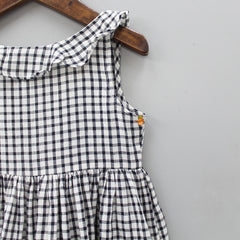 Handwoven Black And White Checks Pattern Dress