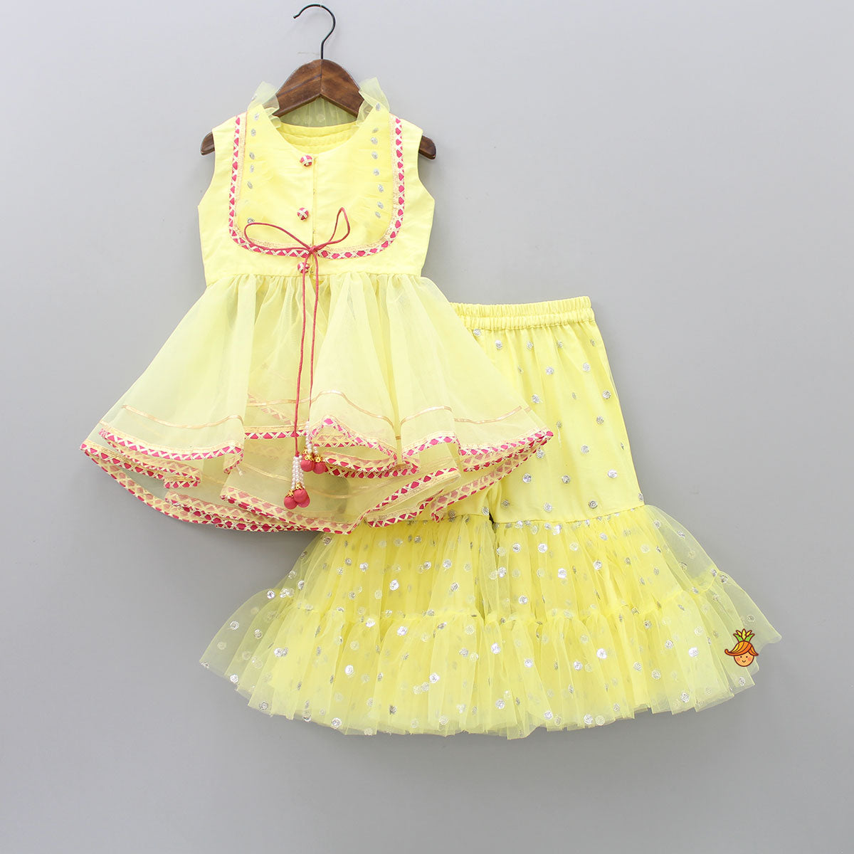 Pre Order: Yellow Net Frilled Top With Sharara