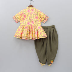 Pre Order: Floral Printed Top With Green Dhoti