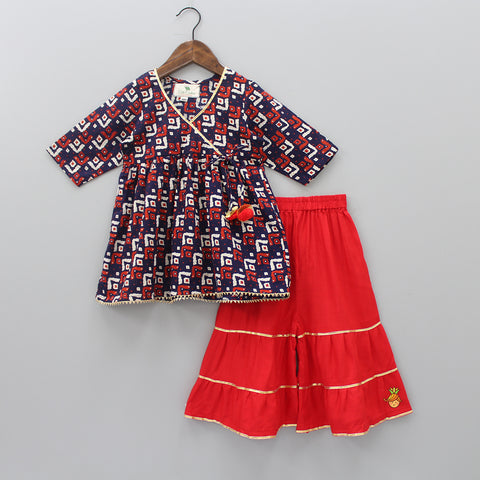Printed Kurta With Red Sharara