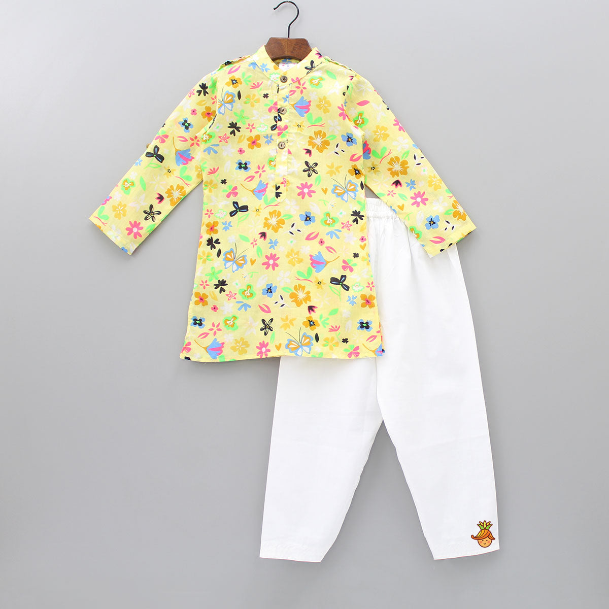 Floral Print Yellow Kurta And Pyjama