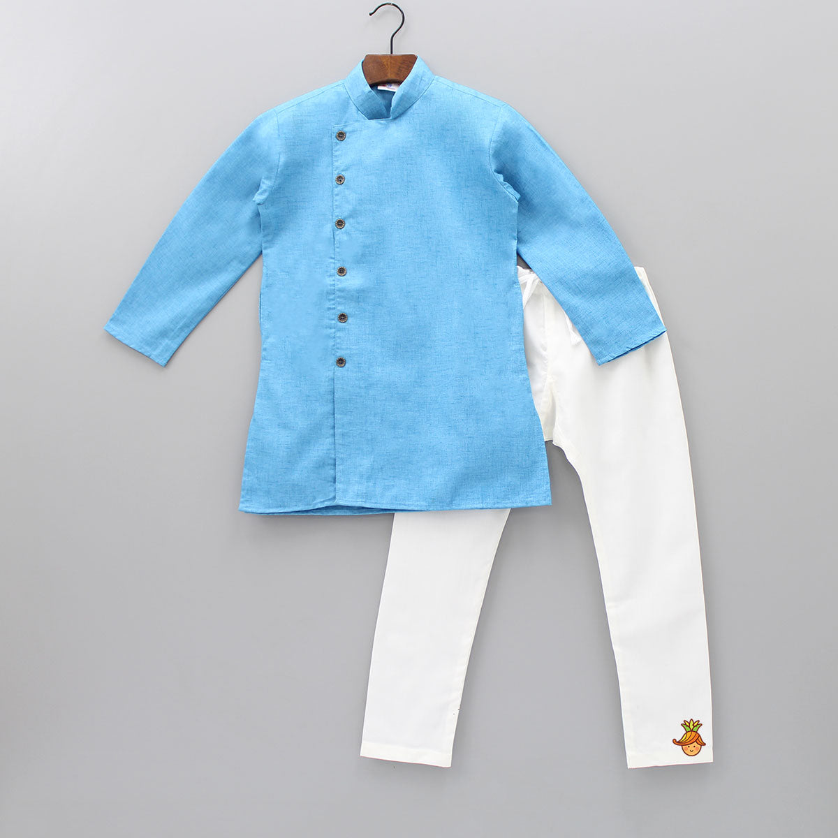 Blue Side Buttoned Kurta And Churidar