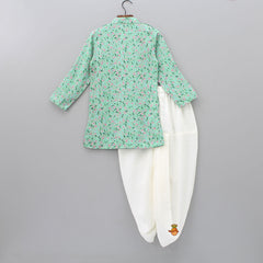 Floral Printed Green Kurta With Dhoti