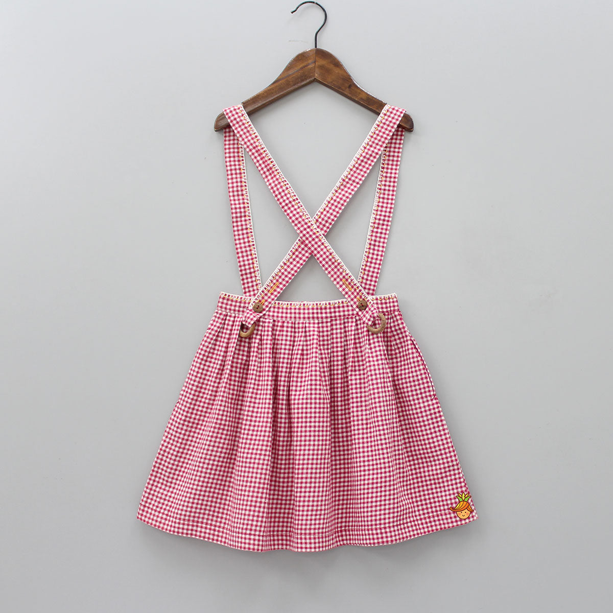 Checks printed Dungaree Skirt