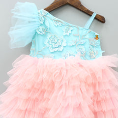 Pre Order: Embroidered Net Frill Dress