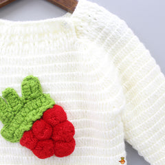 Strawberry Crochet Sweater With Cap