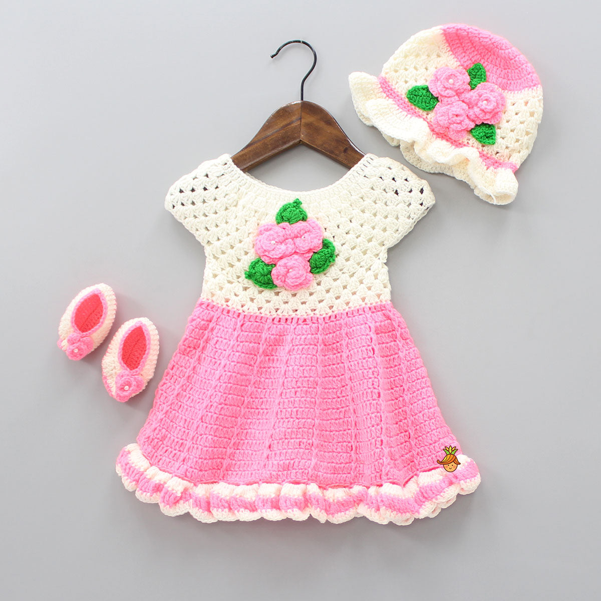 Off White And Pink Floral Crochet Dress With Cap And Booties