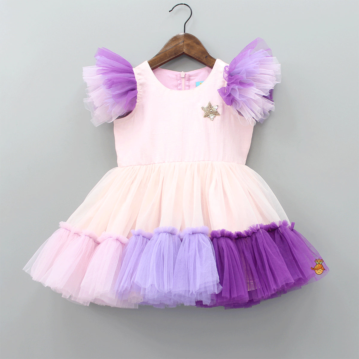 Pre Order: Sequin Star Patch Frilled Dress