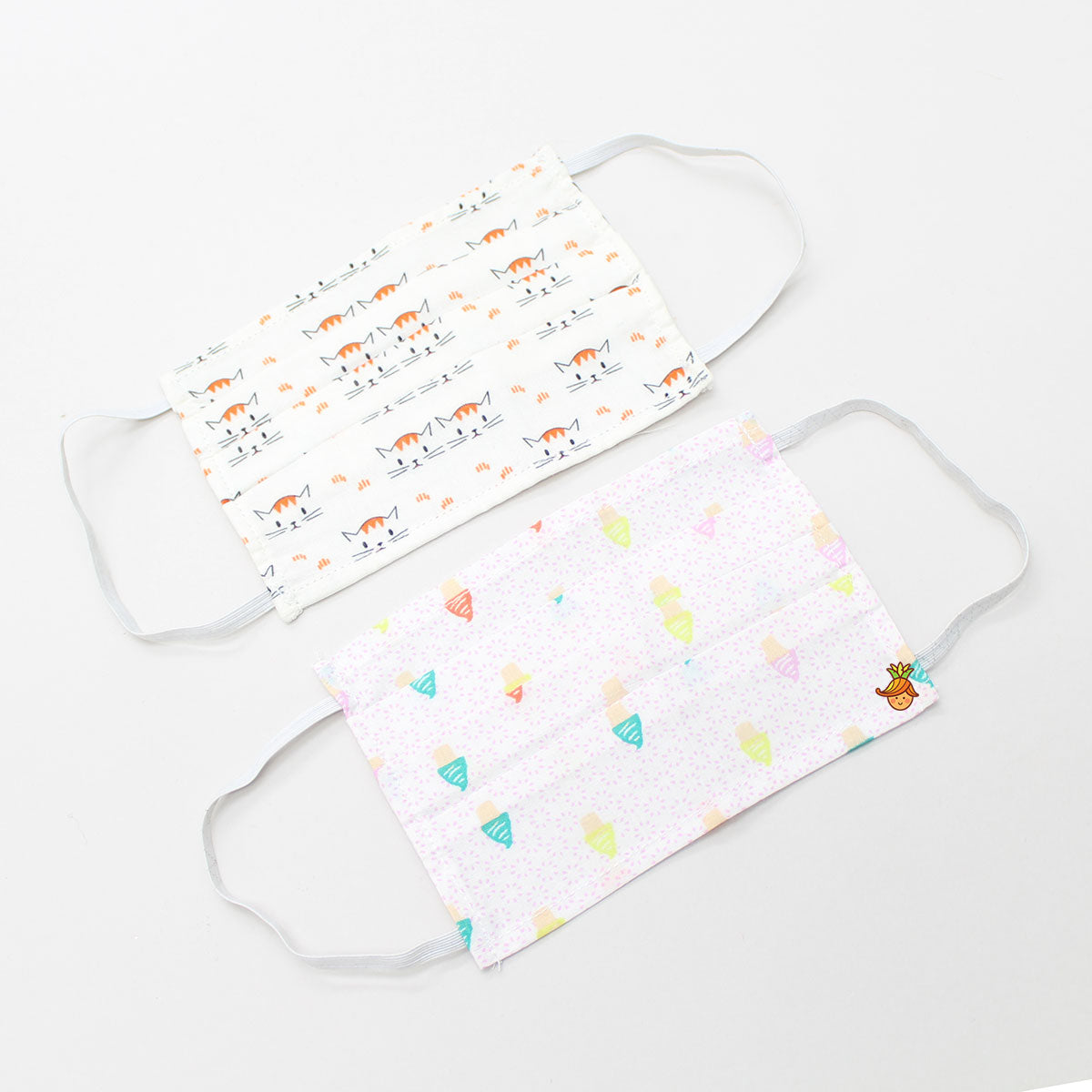 Kitty And Ice Cream Print Cotton Mask - Set Of 2
