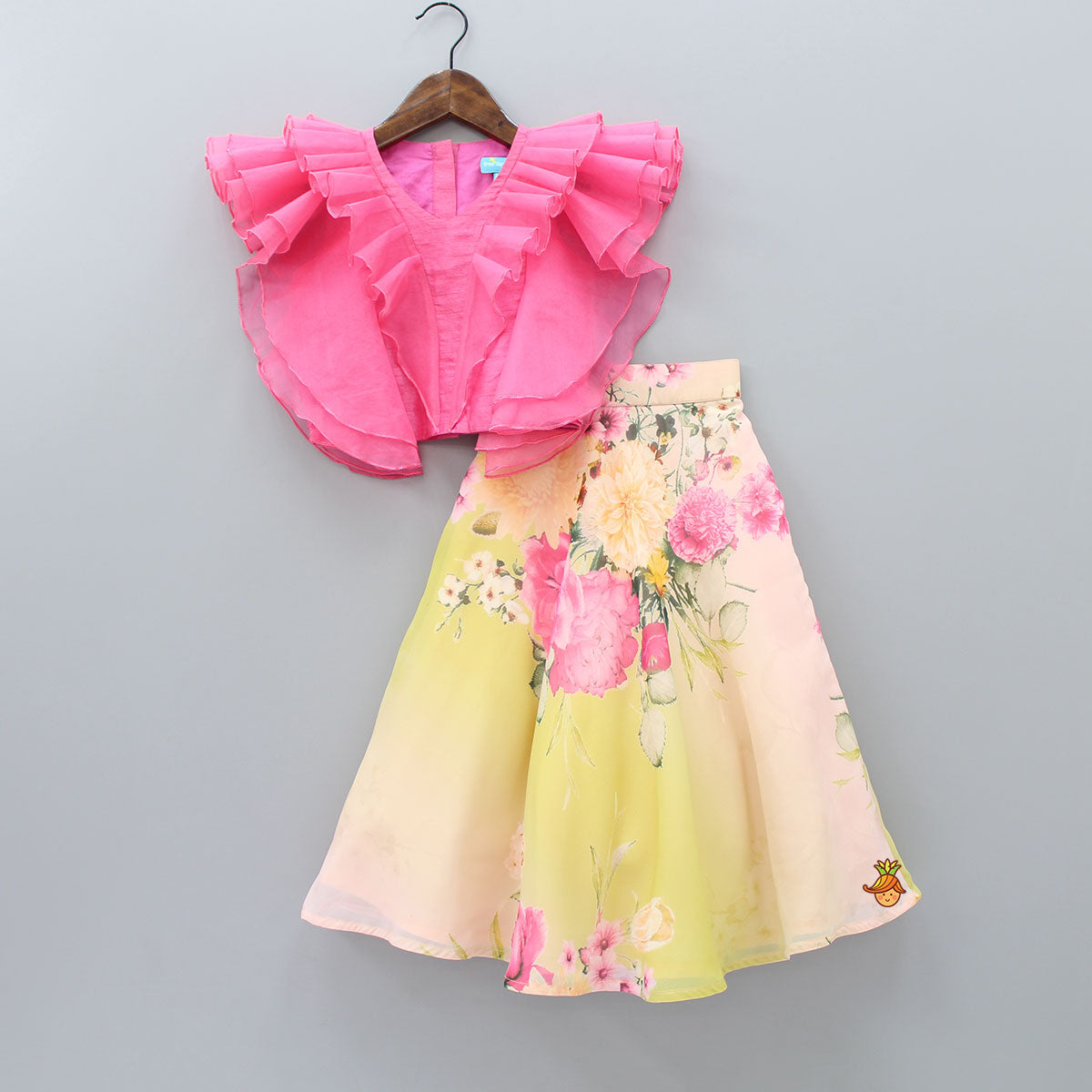 Pre Order: Frilly Top And Floral Print Lehenga