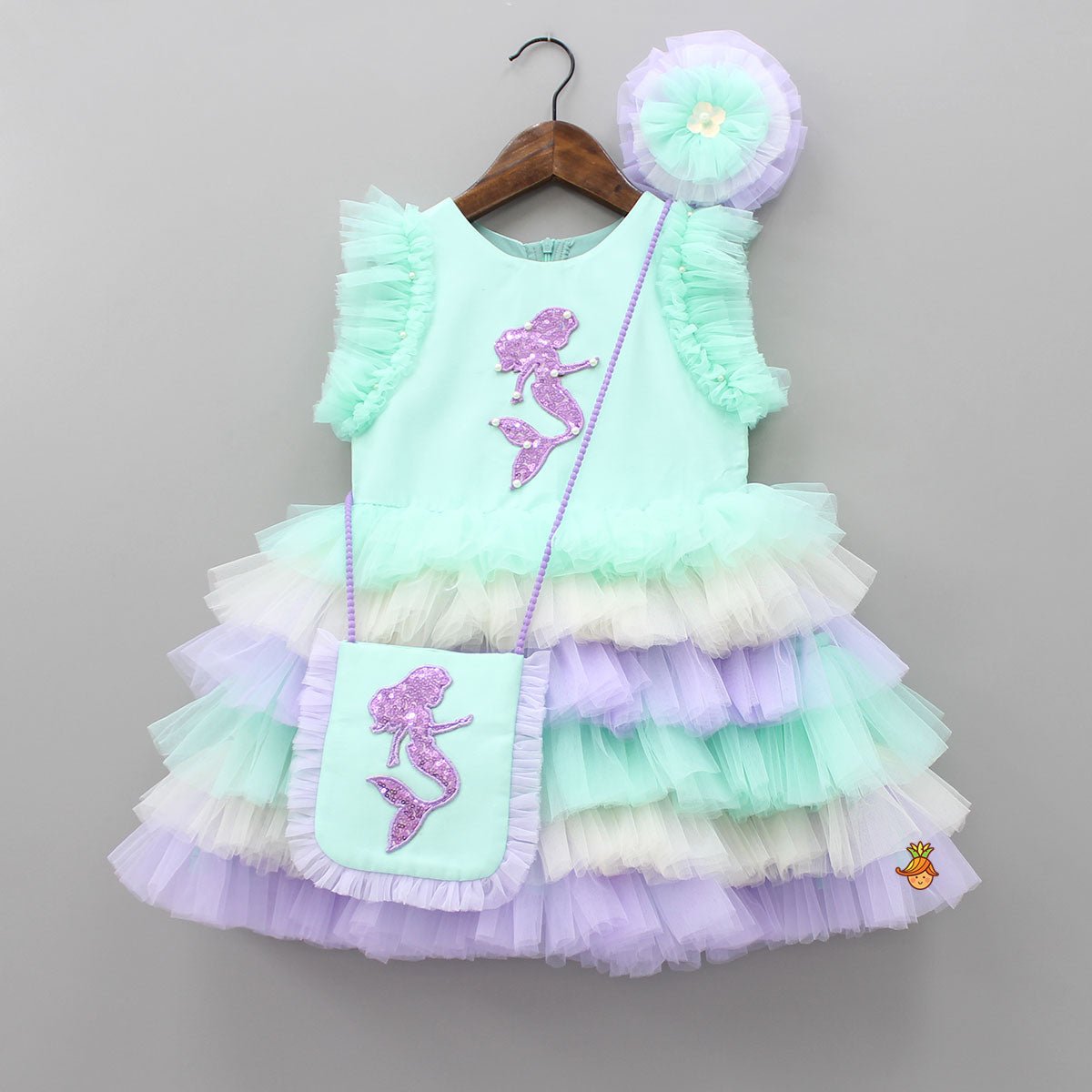 Pre Order: Sequin Mermaid Patch Dress With Sling Bag And Hair Clip
