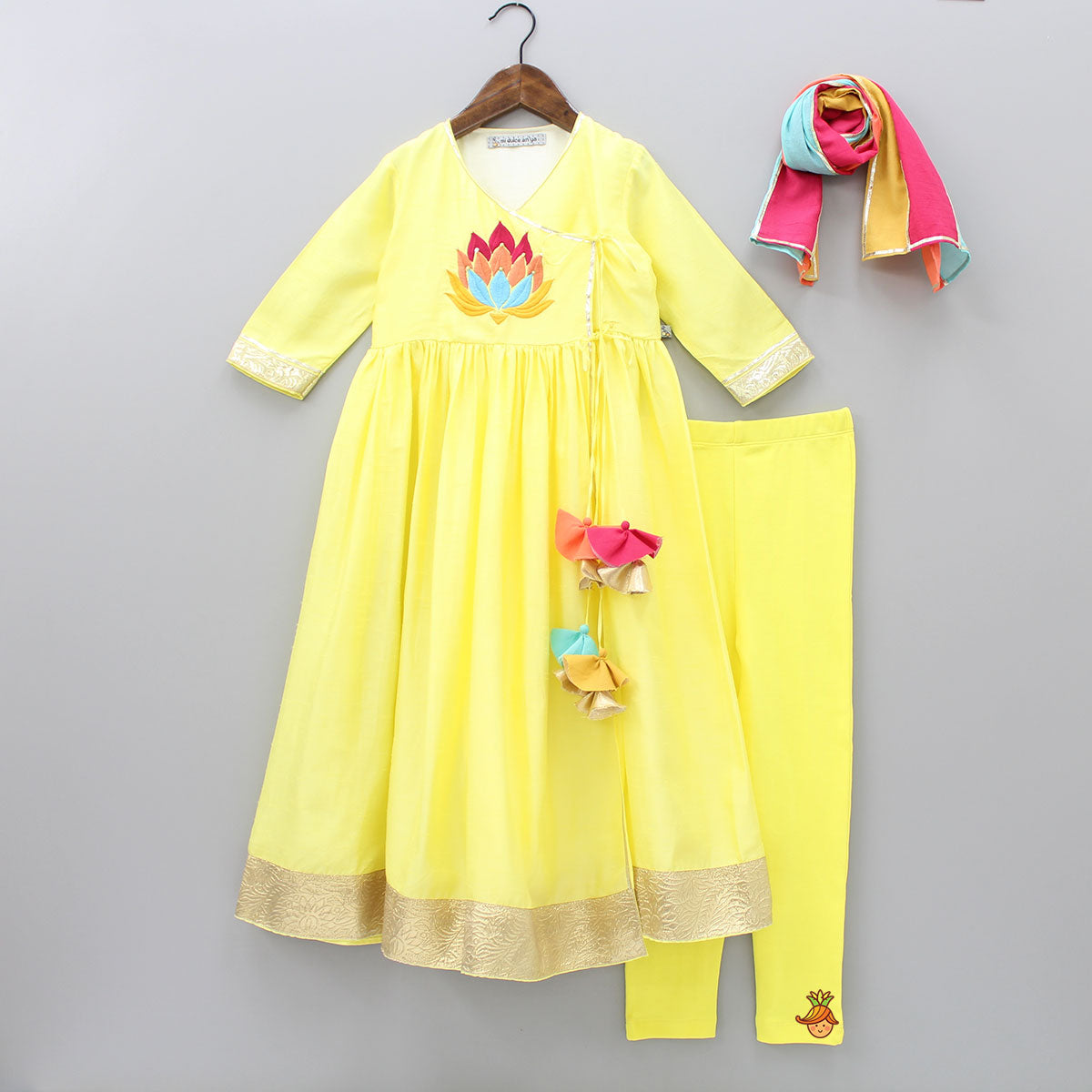 Pre Order: Organic Lotus Embroidered Kurta And Churidar With Dupatta