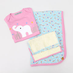 Pre Order: Organic Elephant Theme Bodysuit With Blanket And Face Towels