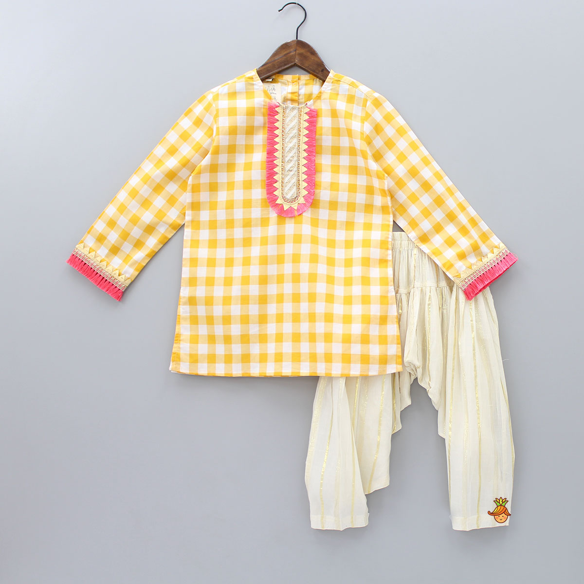 Checks Print And Tassel Work Kurta And Patiala