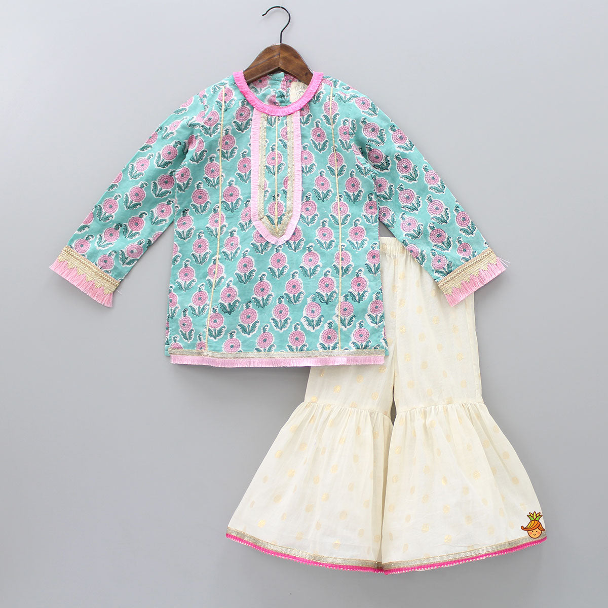 Floral Printed And Fringes Work Kurta And Sharara