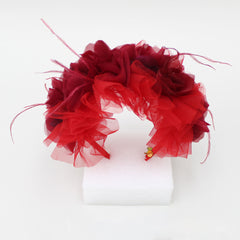 Ruffled Floral Hair Band - Red