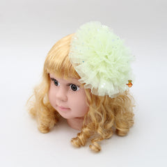 Ruffle Floral Hair Clip - Light Green