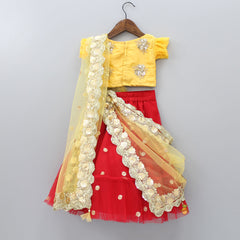 Pre Order: Floral Sequin Work Top And Lehenga With attached Dupatta